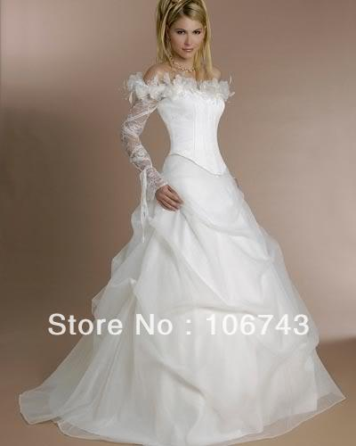 Free Shipping 2018 Vintage Long Sleeves White Organza Bridal Ball Gown Custom Vestido De Noiva Mother Of The Bride Dresses