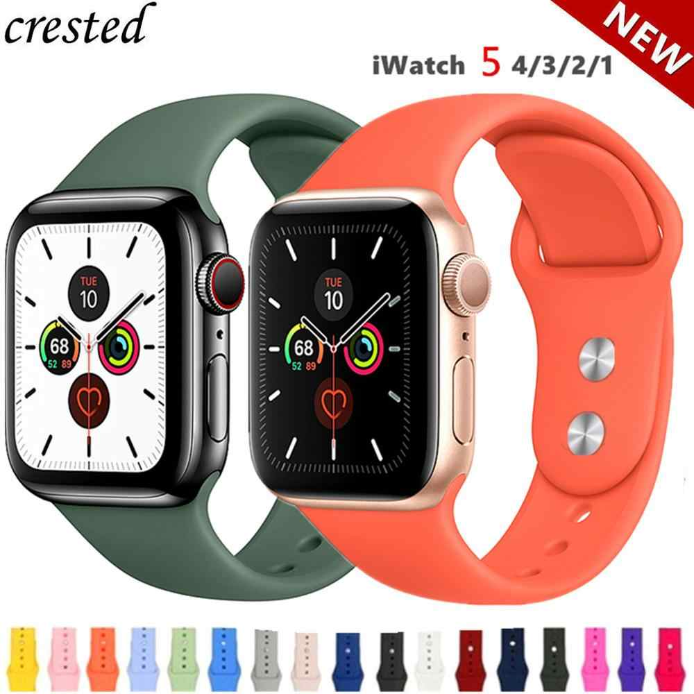 Silikon Tali untuk Apple Watch Band 38 Mm 42 Mm IWatch 4 Band 44 Mm/40 Mm Sport Gelang Karet gelang Jam untuk Apple Watch 4 5 3 2 1