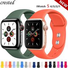 Silikon Tali untuk Apple Watch Band 38 Mm 42 Mm IWatch 4 Band 44 Mm/40 Mm Sport Gelang Karet gelang Jam untuk Apple Watch 4 5 3 2 1(China)