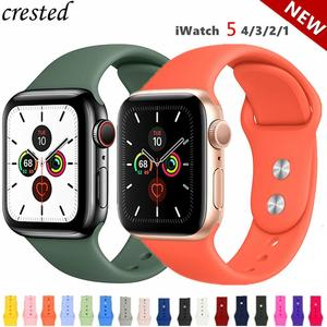 Silicone strap For Apple Watch band 44 mm/40mm iwatch Band 38mm 42mm Sport bracelet Rubber watchband for apple watch 5 4 3 2 1(China)
