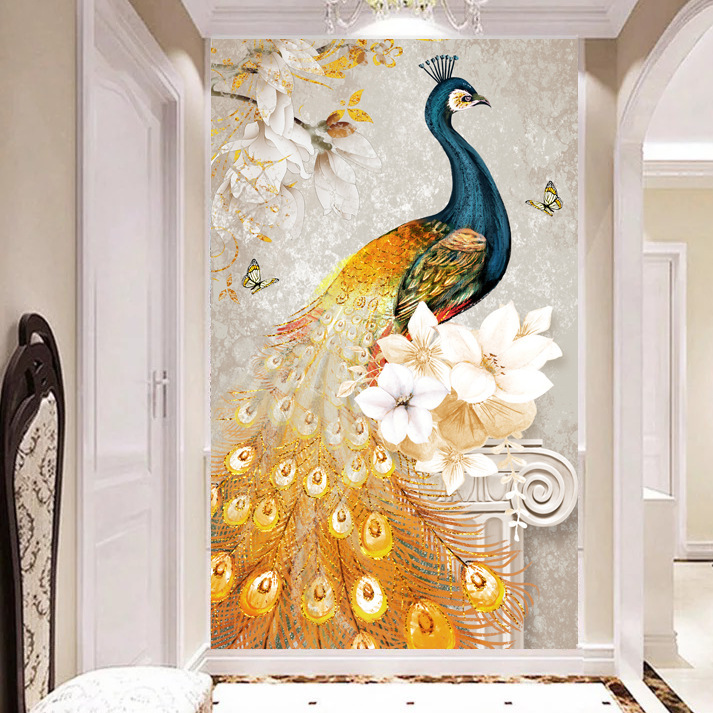 TV Backdrop Wallpaper Mural Nonwoven Fabric Living Room Wallpaper Modern Minimalist Entrance Mural