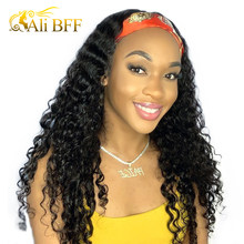 Brazilian Deep Wave Wig Headband Wig Natural Color 180% Density ALI BFF HAIR Curly Wave Human Hair Wigs Scarf Wig For Women(China)