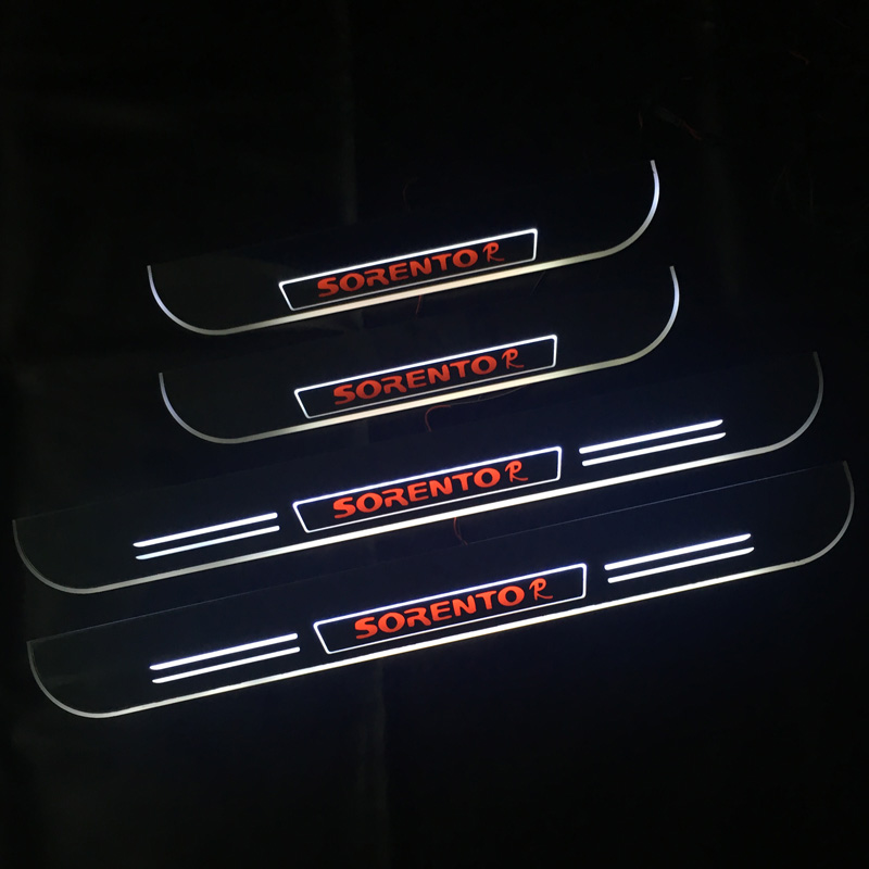 LED Door Sill Scuff Plate for Kia Sorento Trim Pedal Pathway Dynamic Streamer light Car Exterior Parts
