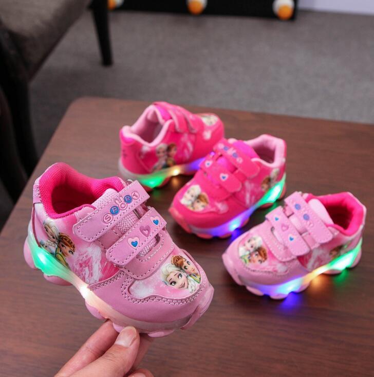 Диснеевских мультфильмов «Холодное сердце» Лидер продаж светодиодный обувь для девочек с застежкой-липучкой высокого качества детские кр...