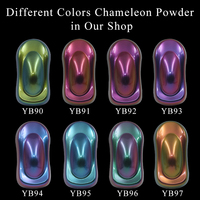 8 Packs Chameleon Pigment Powder Coating Acrylic Paint Chameleon Dye for Cars Automotive Craft Nail Decoration Painting 10g/pack