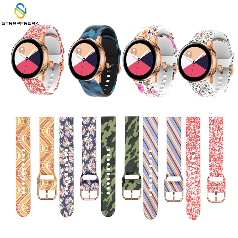 Straps For Samsung Galaxy Watch Active 42mm Gear Sport S2 Garmin Amazfit Bracelet Band Strap Correa 20mm Printing Silicone Belt