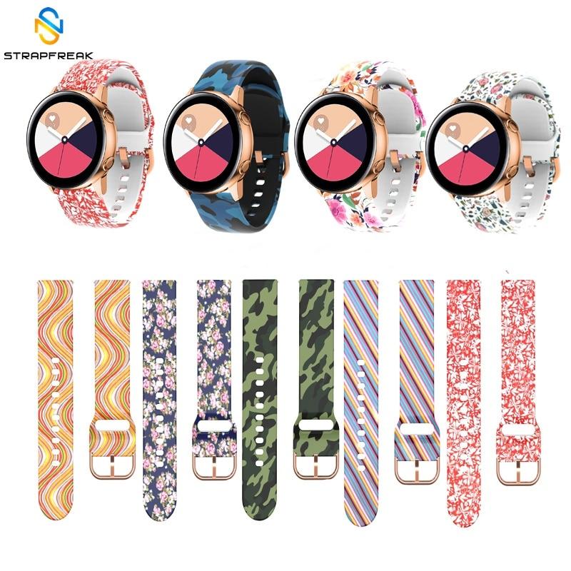 Straps For Samsung Galaxy Watch Active 42mm Gear Sport S2 Garmin Amazfit Bracelet Band Strap Correa 20mm Printing Silicone Belt
