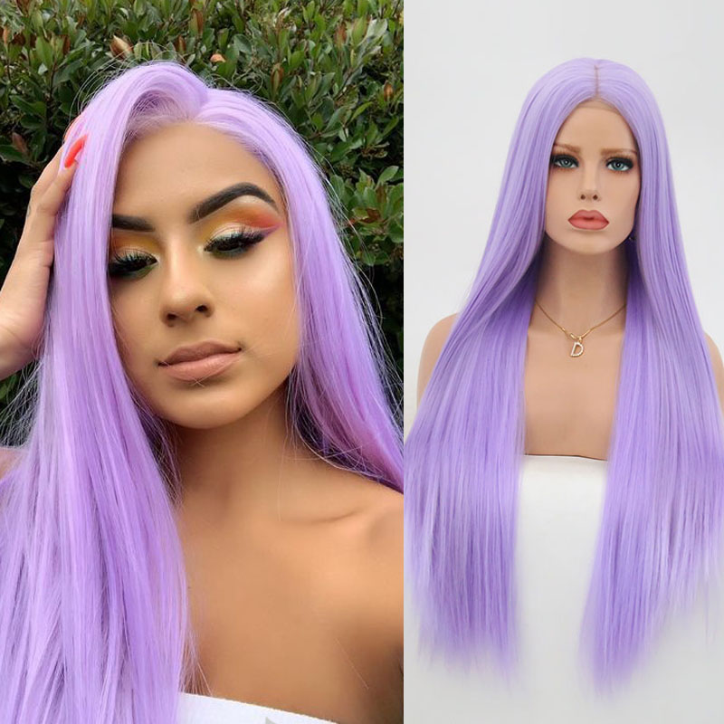 RONGDUOYI Glueless Synthetic Lace Front Wig Long Silky Straight Purple Cosplay Wigs For Women High Temperature Hair Lace Wig