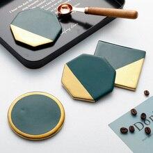 Nordic light luxury wind emerald ceramic gold-plated coasters non-slip tea cup coffee mug pad insulation cup holder