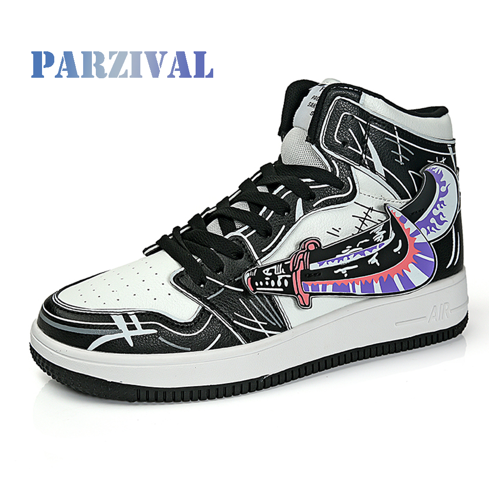 PARZIVAL High Quality Men Vulcanized shoes New High Top Casual shoes Men Autumn Leather Sneakers Anime Shoes Plus Size Male Flat
