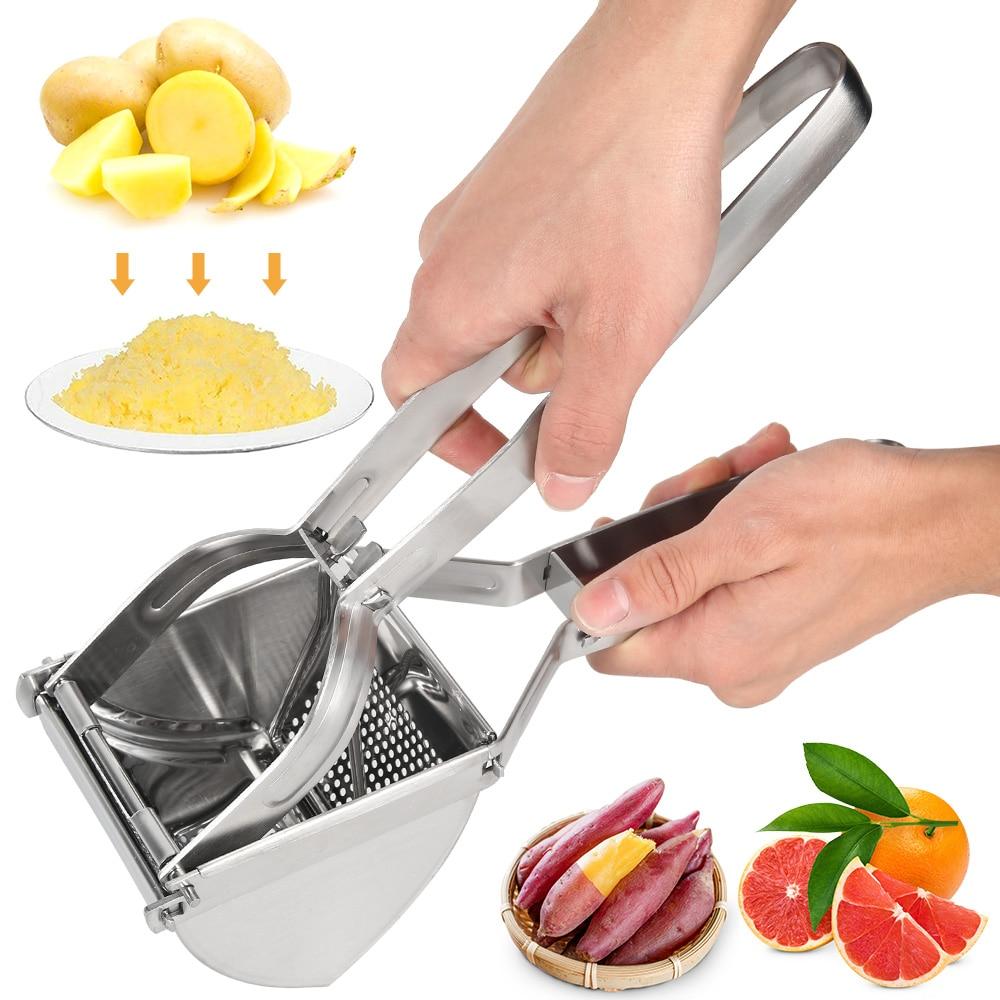 Potato Masher Ricer Press Mashed Potatoes Stainless Steel Crushing Potatoes Puree Fruit Vegetable Juicer Press Maker Tool|Potato Mashers & Ricers| |  -