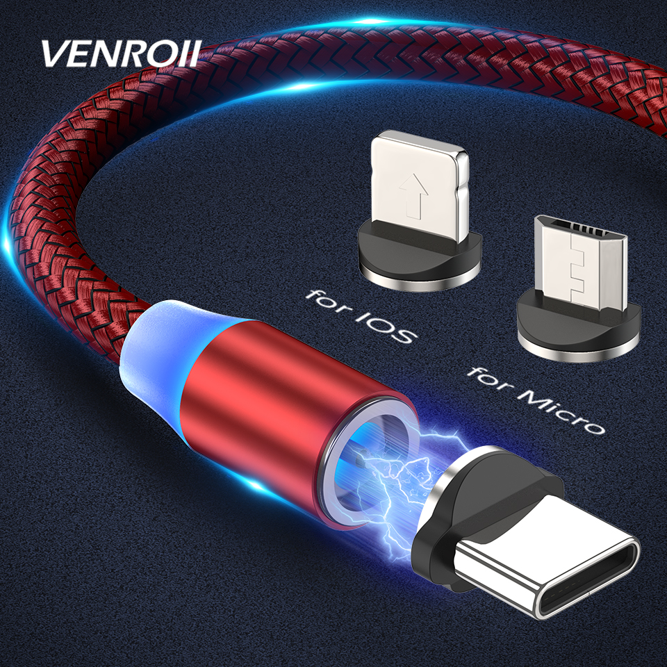 Venroii Magnetic Cable USB Fast Charging Micro USB Type C Cable for Samsung Galaxy Note 9 S20 Xiaomi Mi 8 10 Redmi Phone Charger