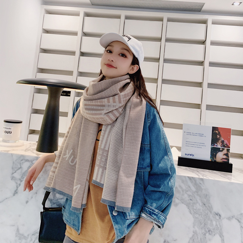 High End Brand Autumn And Winter New Color Matching Cashmere Scarf Warm Shawl Double Faced Available Female NIAN