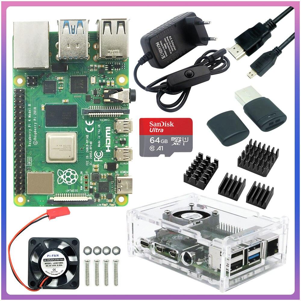 Raspberry Pi 4 Model B 2 ГБ/4 ГБ/8 ГБ ОЗУ + чехол + вентилятор + теплоотвод + адаптер питания + SD-карта 32/64 ГБ + Кабель Micro HDMI для RPI 4B