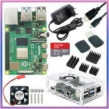 Raspberry pi 4 modelo b 2gb/4 gb/8gb ram + caso + ventilador + dissipador de calor + adaptador de alimentação + 32/64 gb cartão sd + hdmi-compatível para rpi 4b