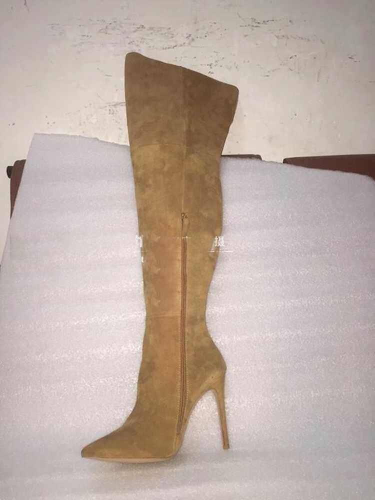 זמש עור ארוך מגפי מחודדת הבוהן דק עקבים גבוהים אישה Slim Fit חורף מעל הברך ירך גבוהה מגפי ייצור zip עד