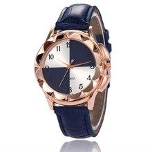 Women's watch 2020 new black and white fan-shaped leather quartz business casual Arabic digital quartz watch reloj de mujer