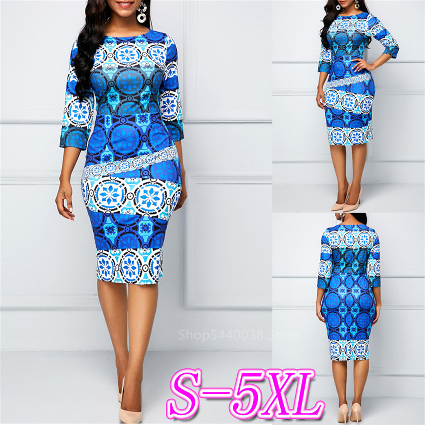 Ladies Clothes 2020spring African Dresses For Women Dashiki Print Bazin News Vestidos Plus Size Slim Ethnic Fashion Style Robe