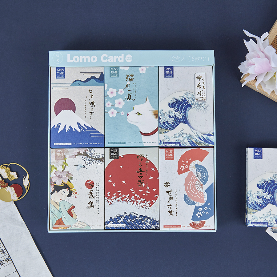 6 Styles Kanagawa Wave LOMO Card DIY Mini Greeting Card Japanese Style Postcard Message Card Gift 28 Pcs/Set