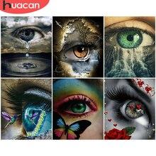 HUACAN – peinture à l'huile par numéros sur toile, bricolage, yeux peints à la main, cadeau Unique, Art mural acrylique