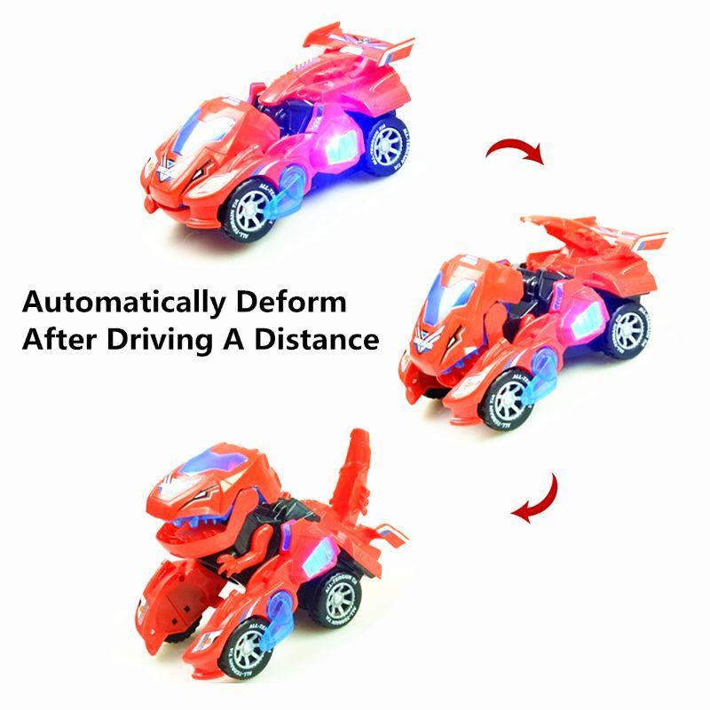 Transforming Dinosaur LED Car Dinosaur Transform Car Toy Automatic Dino Dinosaur Transformer Toy Car for Kids