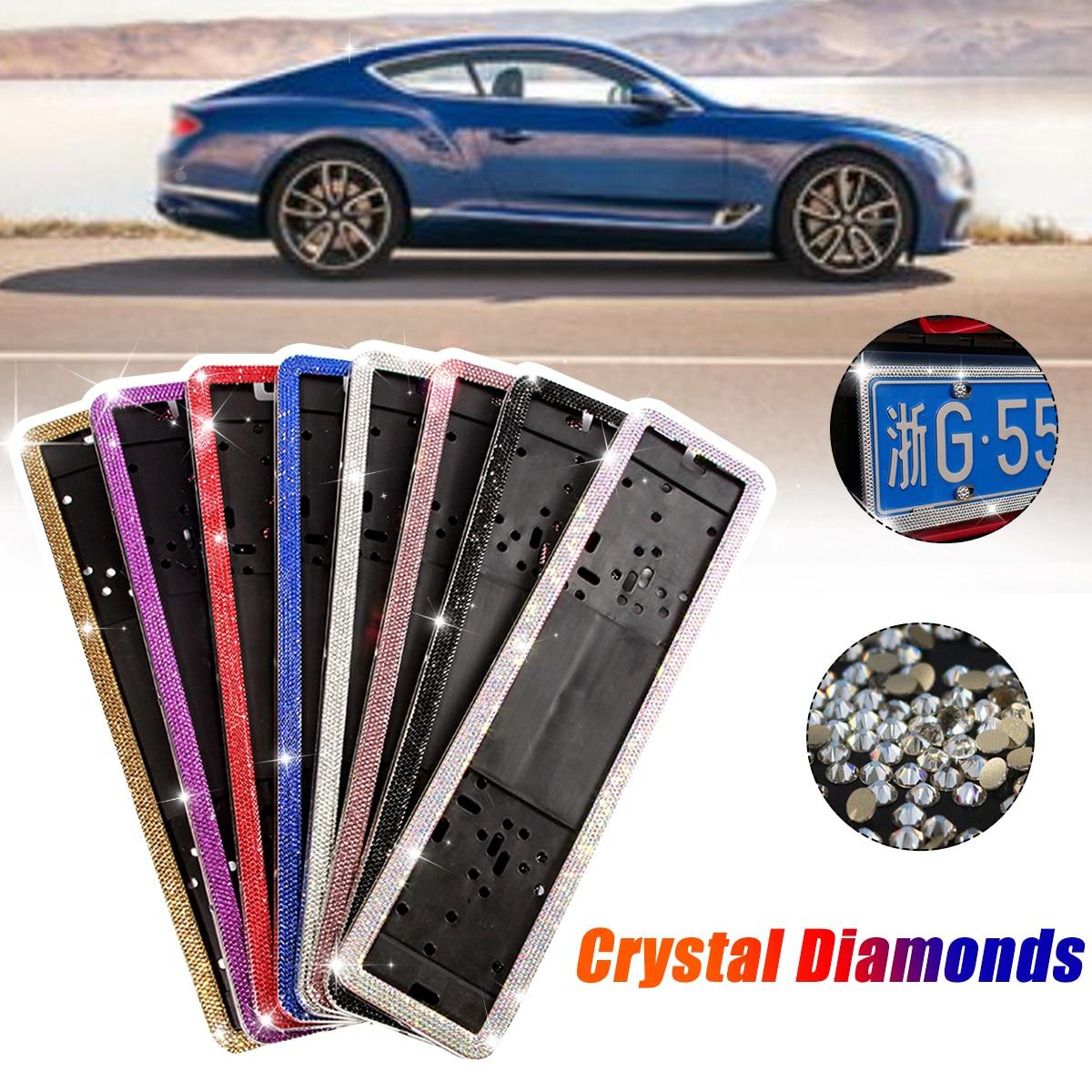 1 Juego de diamantes de cristal de acero inoxidable Marco de matrícula de coche europeo alemán ruso soporte para marco de placa de matrícula
