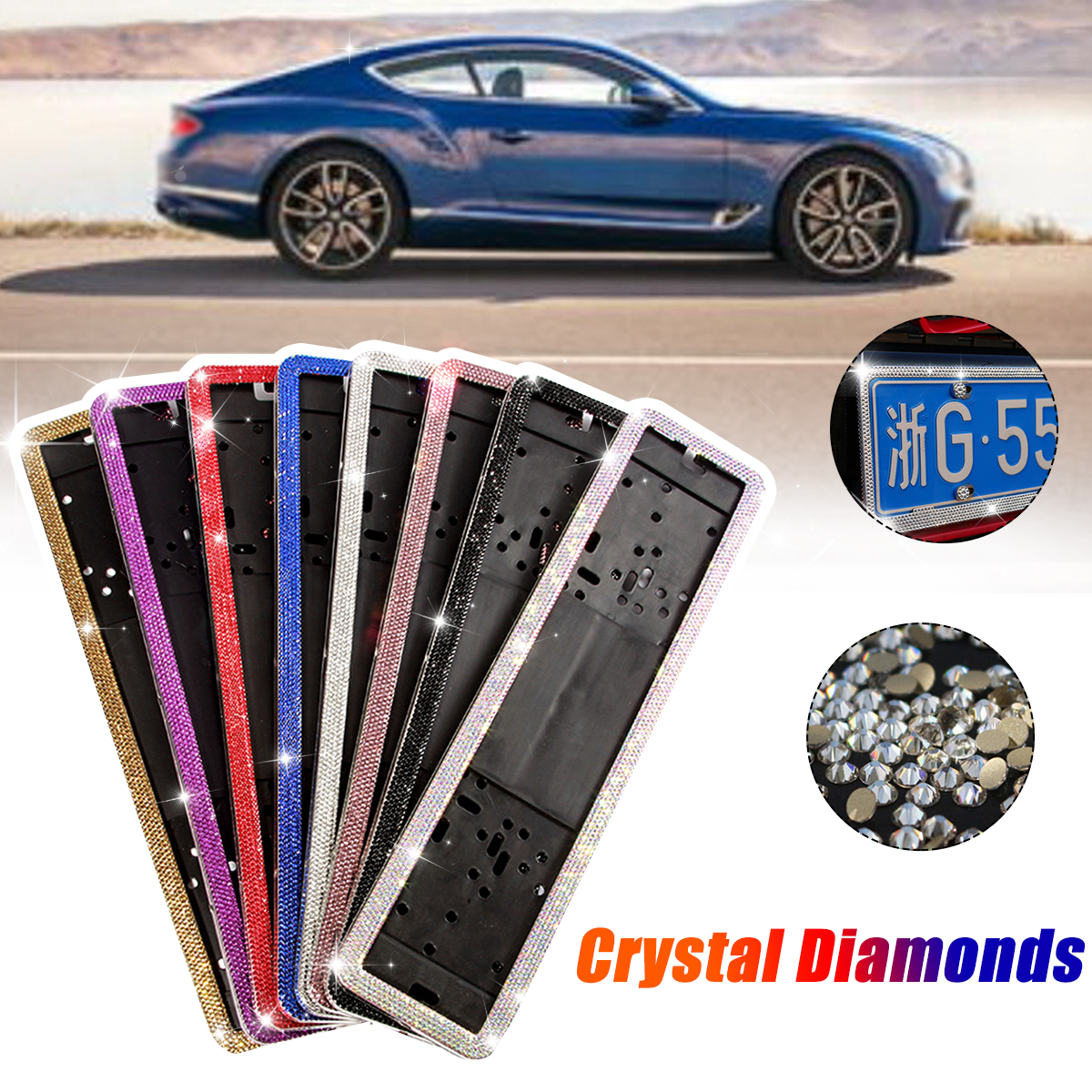 1 Set Stainless Steel Crystal Diamonds European German Russian Car License Plate Frame Number License Plate Frame Holder