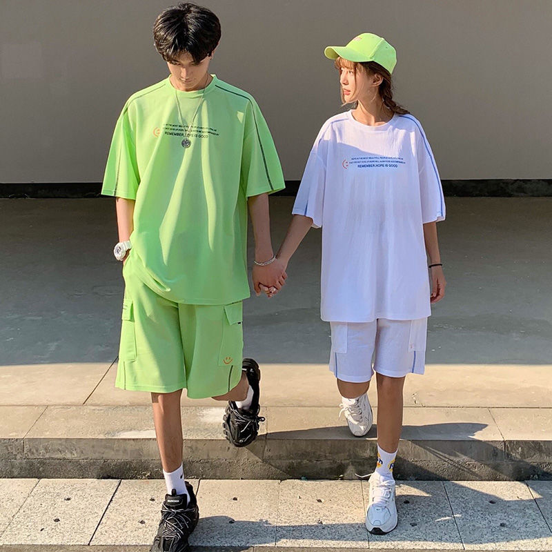 2020 Summer New Youth Popular Couple Simple Letter Printing Five-point Sleeve T-shirt Loose Shorts Fashion Casual Suit