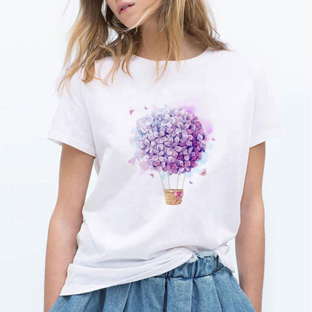 Balloon Flowers Print Harajuku T Shirt Women Fashion Tshirt O-neck Short Sleeve T-shirt White Tops Female Clothing