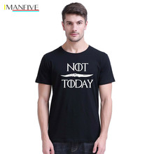 цена на IMANFIVE Funny T Shirt Men Game Of Thrones NOT TODAY T-shirts Arya Stark T-Shirts 100% 180g Combed Cotton Unisex Summer Tee Tops