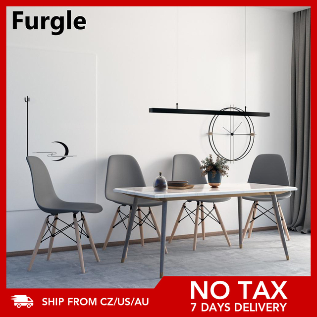 Grey 4Pcs/Set Dining Chairs Modern Leisure Bar Chair with Solid Wood Legs Office Chair Home Furnitures Comference Chairs 1