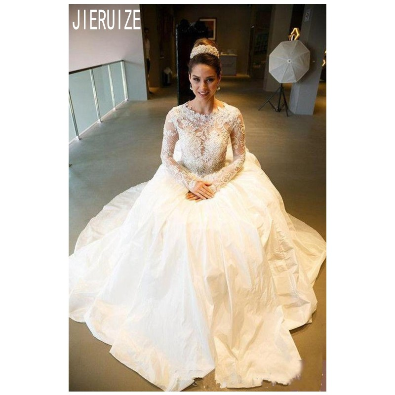 JIERUIZE Luxury Sheer Lace Wedding Dresses Long Sleeves  Jewel Neck Beading Sash Lace Up Back A Line Bridal Gowns Robe De Mariee