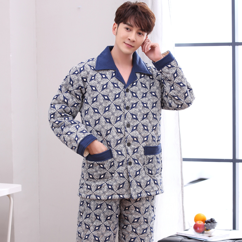 Winter Cotton-Padded Jacket Pyjamas Mens Thicken Warm Night Clothing Three-Layers Quilted Sleepwear Plus Size Pajamas Home Suit