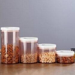 4 szt. Pudełko do przechowywania żywności przezroczysty pojemnik zestaw z pokrywkami do kuchni do jedzenia zamknięte przekąski suszone owoce ziarna ziarna kawy zbiornik przechowywania C|Butelki  słoiki i pudełka|   -