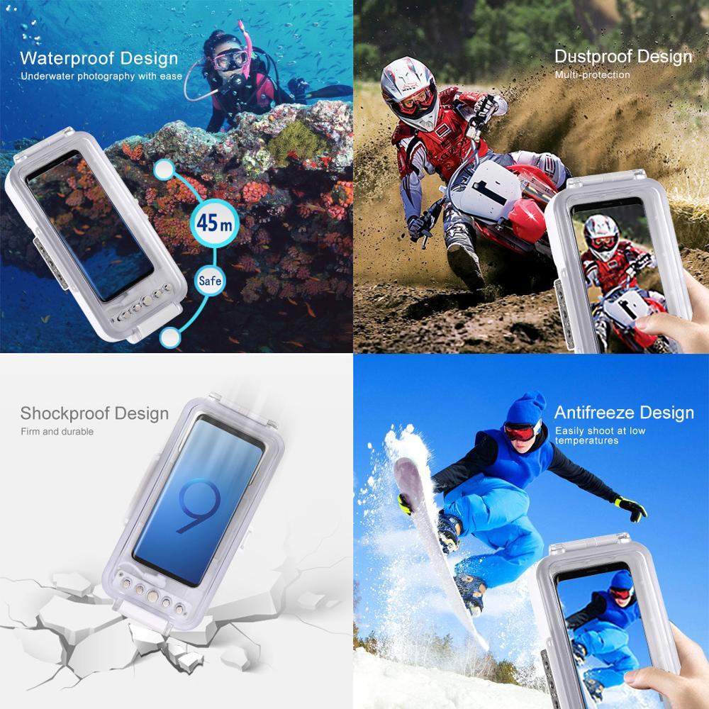 Universal 45m Unterwasser Abdeckung Wasserdicht Tauchen Gehäuse Foto Video Aufnahme Fall für Galaxy, Huawei, Xiaomi, google Android OTG - 4