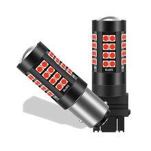 Luces LED estroboscópicas rojas para coche, bombillas de repuesto, 12V, W21/5W 7443 T20 1157 BA15D 1156 P21W SRCK, 1PCS