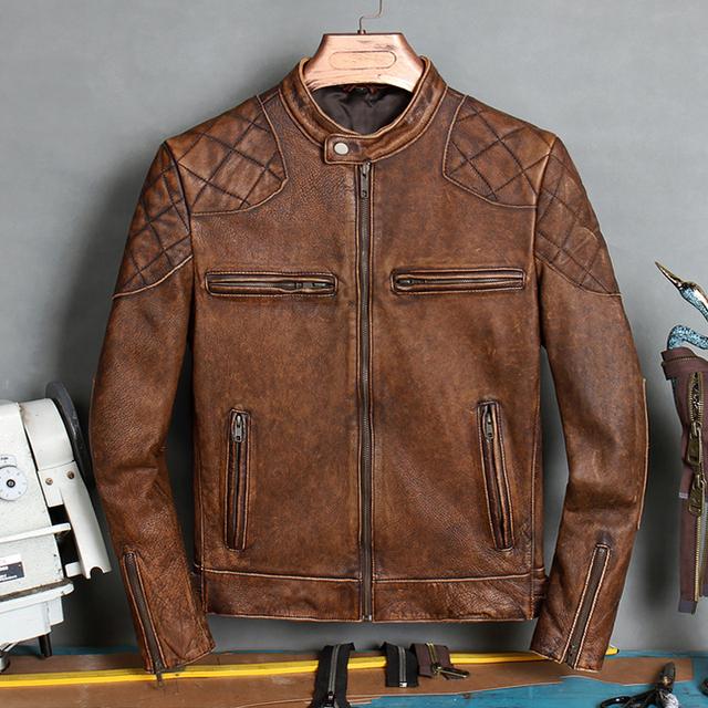 2020 Vintage Brown Motorcycle Style Leather Jacket Men Stand Collar Plus Size 3XL Genuine Cowhide Autumn Slim Fit Biker's Coat