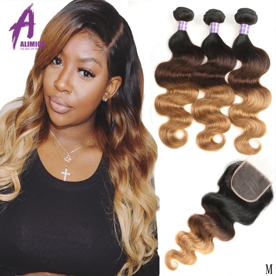 Alimice 3 Tone Ombre Bundles With Closure Indian Body Wave Hair Weave Bundles With Closure T1b/4/27 Human Hair Hair Extensions