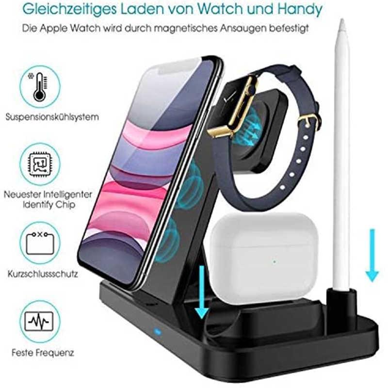 FDGAO 10W 4 ב 1 מטען אלחוטי אינדוקציה טעינת Pad עבור iPhone 11 X XS Max XR Airpods אפל שעון 5 תחנת עגינה לטעינת