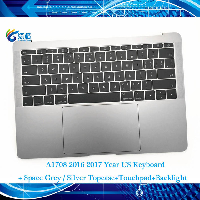 """오리지널 13.3 """"A1708 Topcase Space 그레이 실버 미국 키보드 트랙 패드 백라이트 Macbook Pro 용 Retina A1708 탑 케이스 커버"""