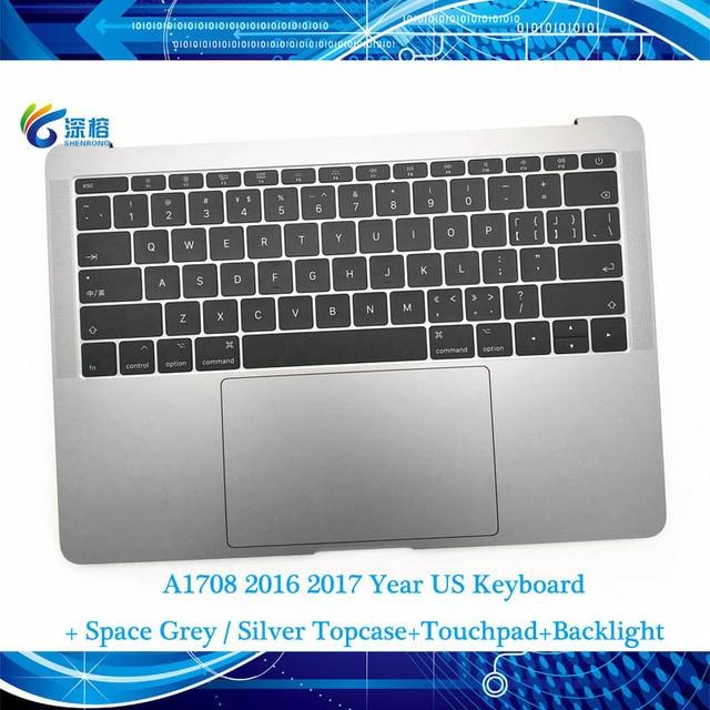 "Original 13.3 ""A1708 Topcase Raum Grau Silber UNS tastatur Trackpad hintergrundbeleuchtung Für Macbook Pro Retina A1708 Top cases Abdeckung"