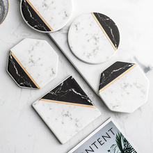 2Pcs/set Nordic Marble Ceramic Coaster Cup Mats Gold Lines Geometric Pattern Round Square Heat-insulated Pads