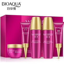 5pcs BIOAQUA Skin Care Set Black Chrysanthemum Serum Essence Anti Aging Moisturizing Toner+Eye Cream+Lotion+Day Cream+BB Cream недорого