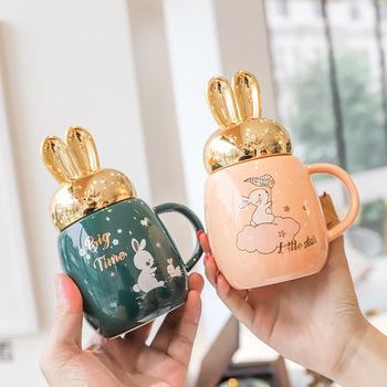 Kreskówka uszy królika ceramiczny kubek z pokrywką proste kubki do kawy filiżanka do kawy i mleka zabawny kubek ceramiczny kubek wody tanie i dobre opinie DESumHar CN (pochodzenie) Porcelany Europejska Bez elementów Uchwyt Mugs Na stanie Ekologiczne