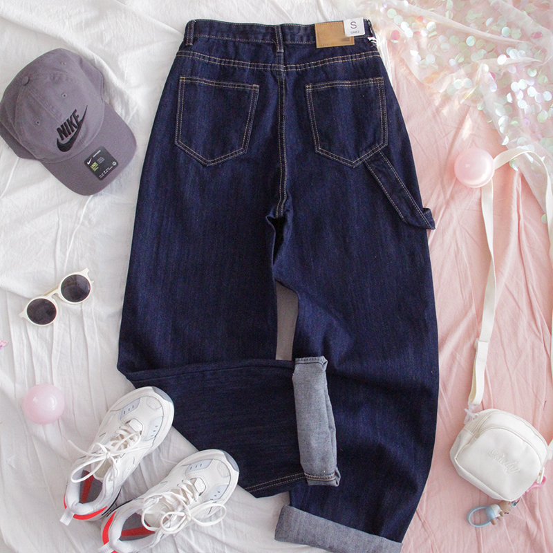 Harajuku Style Women Denim Trousers Young Girl High Waist Casual Pants Loose Student Slim Wide Leg Straight Pants Preppy Style