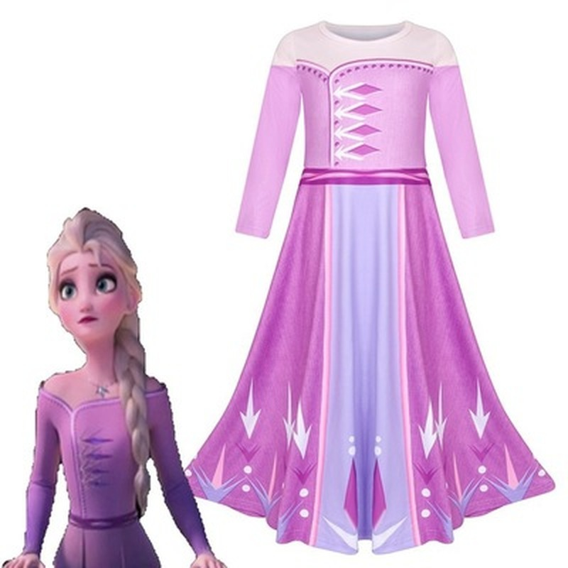 Girl's Clothes <font><b>Wig</b></font> <font><b>Frozen</b></font> <font><b>2</b></font> Aisha Princess Dress <font><b>Anna</b></font> Hair Christmas Cosplay Birthday Party Princess Dress Party 3-12 Years image