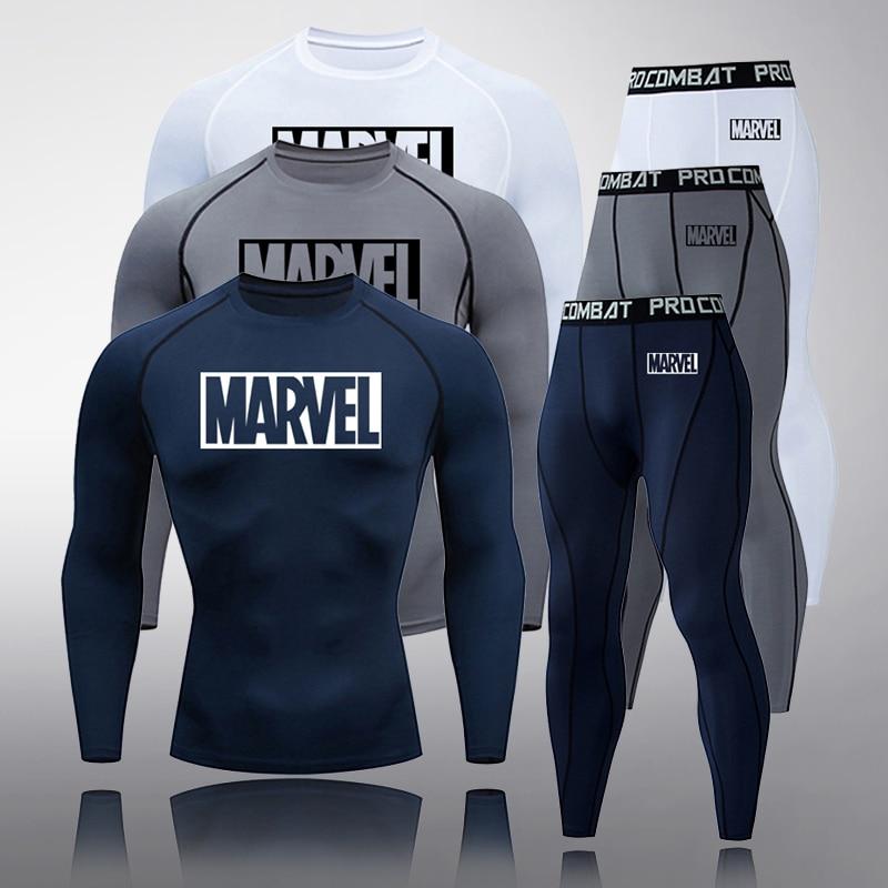 New 2020 Men's Suit Sportswear Tights Fitness MMA Compression Clothing Rash Guard Masculino Mens Jogging Leggings Long T-shirt