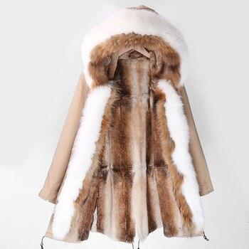 Abrigos con forro de piel de conejo auténtico, novedad de 2020, chaqueta de talla grande, prendas de vestir impermeables de moda para mujer, Parka larga de Invierno para mujer