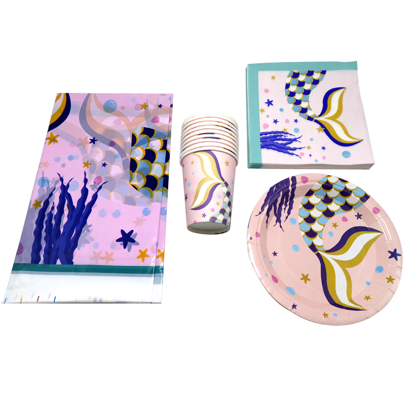 Happy Birthday Cups Plates Girls Favors Wedding Party Mermaid Theme Napkins Baby Shower Decorate Tableware Tablecloth 61PCS