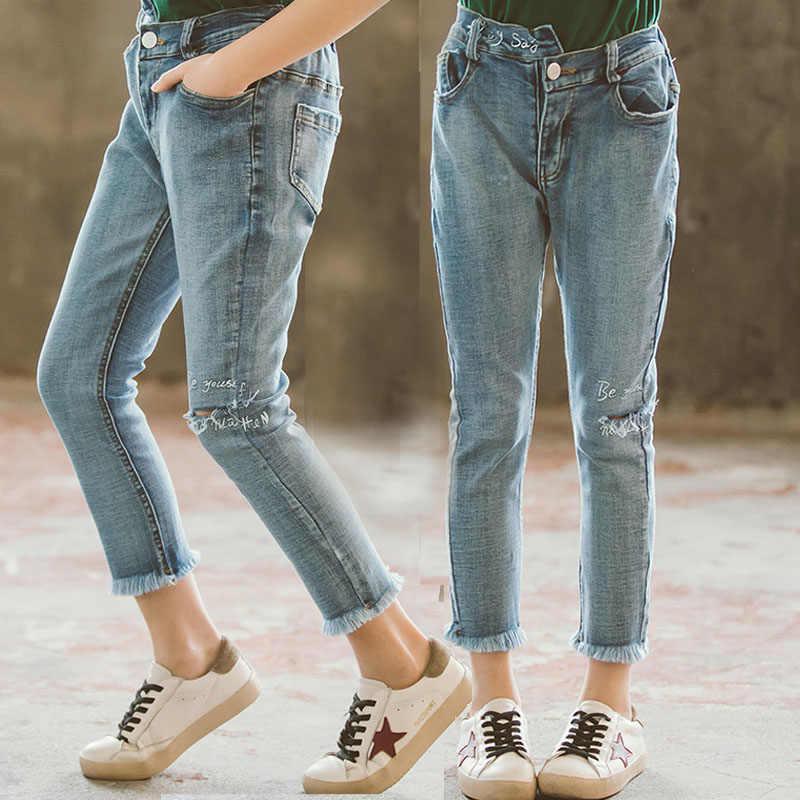 Pantalones Vaqueros Rasgados Para Ninos Pantalones Ajustados Para Nina Elastico Largo Pantalones De Trabajo Para Adolescentes 10 12 Y 14 Anos Pantalones Vaqueros Aliexpress